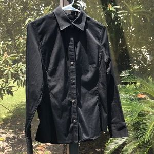 Banana Republic 100% Cotton  Black Stretch Blouse